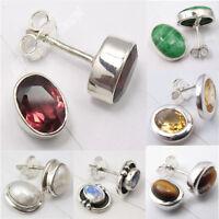 925 Silver GARNET & Other Natural OVAL Gemstones Studs Earrings Variation