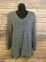 Womens J Crew Pullover Sweater Size Small Gray Long Sleeve V-neck L/S Top Casual