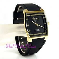 OMAX Slim Black Gold Pl Sporty Seiko Movt Square Unisex Watch 4 Yr Warranty D006
