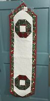 Quilted Table Runner Handmade Christmas Red Green Wreath Pattern