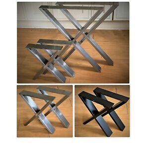2 x  Metal/Steel/Black table legs bench legs cross legs industrial UK designer