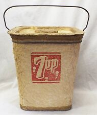 RARE Antique 1920s 7 UP SODA POP Molded Pulp Advertising COOLER w/ Handle & Lid