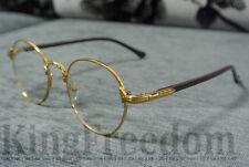 Vintage Oval Gold Eyeglass Frame Man Women Plain Glass Clear Full Rim Spectacles