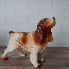 "Vintage Cocker Spaniel Ceramic Dog Figurine Brown and White 7"""