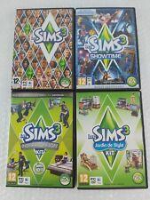 Les sims 3 lot de 4 jeux pc complets  base + show time +Jardin style + loft