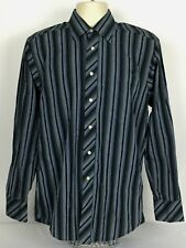 Ted Baker London 15-34/35 Button Front Dress Shirt Multi-Color Stripe Flip Cuff
