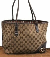 Authentic GUCCI Tote Bag GG Canvas Leather Brown A5085