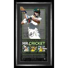 Mike Hussey Signed Australia Mr.Cricket Retirement Lithograph Print Framed + COA