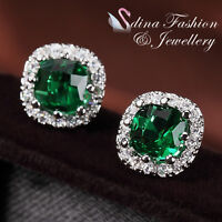 18K White Gold GP Made With Swarovski Crystal Cushion Cut Emerald Stud Earrings