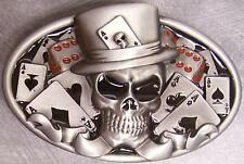Pewter Belt Buckle gamble Casino Skull cards & dice NEW