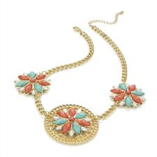 Gorgeous Gold, Pink & Aqua Colour Bead Flower Necklace RRP £9.00 -Brand New+Tag