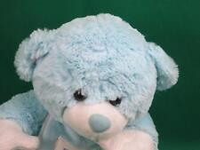 BABY BOY BLUE THUMBSUCKING TEDDY BEAR BIB  INFANT NURSERY PLUSH STUFFED ANIMAL
