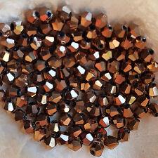 25 Perles Cristal - TOUPIES SWAROVSKI  -  CUIVRE REFLETS  -  4 mm