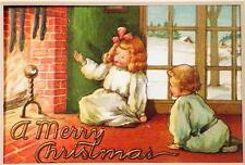 Vintage Die Cut Christmas Postcard Girl Boy Stockings Fireplace Matte Frame