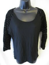 MNG Jeans Solid Size XS Black Viscose Casual Raglan Knit Top SR $25  NEW