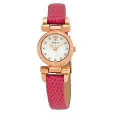 Guess Silver Dial Ladies Pink Leather Watch W0125L5