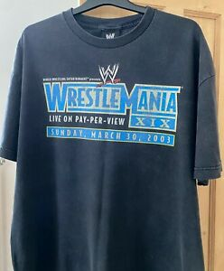 Vintage WWE WrestleMania 19 T Shirt (Rare From Event!) XIX WWF PPV AEW Wrestling