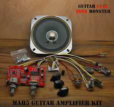 "TONE MONSTER MAH5 Guitar Amp KIT 5W Volume Tone OD MP3 HDPH 4"" SPKR Cigar Box"