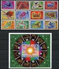 Space Raumfahrt 1974 Malediven Maldive Tierkreiszeichen 529-540 + Block 27/953