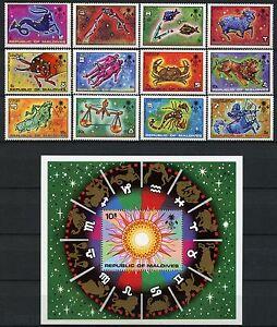 Space Raumfahrt 1974 Malediven Maldive Tierkreiszeichen 529-540 + Block 27 / 953