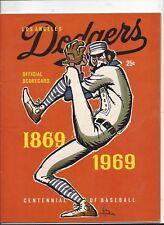 1969 Astros vs. Dodgers Game Program (unscored) excellent-near mint condition