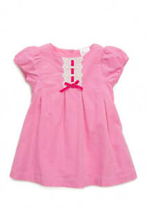 NWT Nursery Rhyme Baby Girls Pink Short Sleeve Corduroy Lace Dress 12 Months