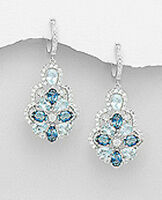 "Blue Topaz Earrings Solid Sterling Silver CZ 1.8"" Latch Back London Swiss 12.2g"