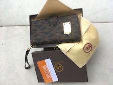 Michael Kors Monogramed leather flip wallet/case For iPhone 7 Plus 5.5'' brown
