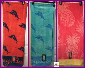 $69 TOMMY BAHAMA 100%COTTON VELOUR BEACH TOWEL ORANGE BLUE MARLIN FISH PINEAPPLE
