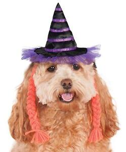 Witch Hat Purple Pigtails Fancy Dress Up Halloween Pet Dog Cat Costume Accessory