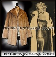 Astraka Vintage 70s Blonde Beige Faux Fur Thigh Length Coat Winter Jacket UK 14