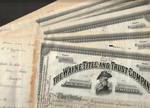 Wayne Title and Trust  Stock Certificate Lot Delaware Co. Pennsylvania 1893-1907
