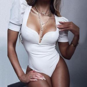 Sexy Womens Ladies Knit Stretch V Neck Jumpsuit Shirt Bodysuit Party Nightwear