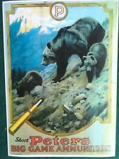 Peters Ammunition Advertising Poster, Big Game Hunting, Mother Bear and Cubs