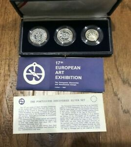 """PORTUGAL 1983 """"EUROPEAN EXPOSITION"""" PROOF SET WITH COA- 3 silver ( STOCK # 475)"""