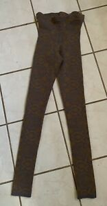 FREE PEOPLE NWOT! Come As You Are Gray/Mustard Paisley Knit Leggings Sz S