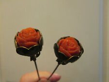 RARE Matched Pair of Antique Victorian Coral Hat Pins
