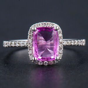 1.5CT Natural Diamond Cushion Pink Sapphire Halo Ring Solid 18K White Gold