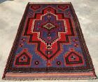 Authentic Hand Knotted Afghan Taimani Balouch Wool Area Rug 5 x 3 Ft (520 HMN)