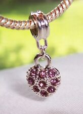 February Birthstone Purple Rhinestone Heart Dangle Charm for European Bracelets