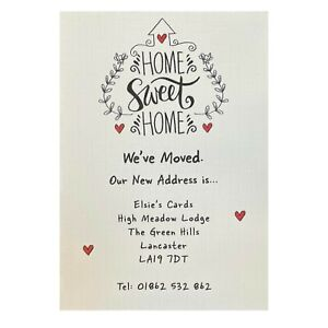 PERSONALISED Change Of Address Cards, House Moving / New Home Card x8