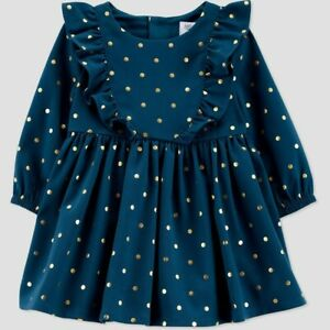 Toddler Girls' Dot Long Sleeve Dress Just One You by carter's Emerald Gold 3T