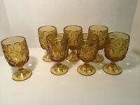 Vintage Amber Glass Drinking Glasses, Stemware, Heavy, Gorgeous, Set of 6 +1
