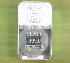 "RARE !!! 2 oz .999 Silver ""ARGOR S.A CHIASSO"" SWITZERLAND SILVER  Art Bar C46"