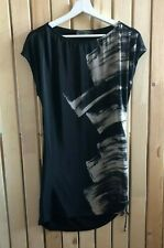 Ladies MINT VELVET black taupe silk front long t-shirt top,  Size 8 -10