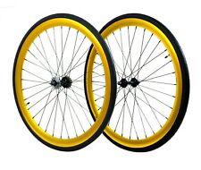Fixie Flip-Flop Track 700c x45 mm F&R Wheel Set w Tire & Tube Gold Anodized