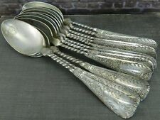 """Antique Set of 12- Ornate Twisted Handle Sterling Silver 4.75"""" Coffee Spoons"""