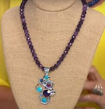 Jay King  Blue Turquoise & Amethyst Pendant and 18-1/4 Beaded Necklace NWT
