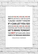 5 Seconds of Summer (5SOS) - Kiss Me Kiss Me - Song Lyric Art Poster - A4 Size