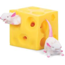 STRETCHY MICE AND CHEESE - COLOURFUL FUN DESTRESS TOY PULL TWIST SQUEEZE